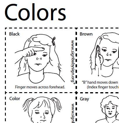 color sign language flash cards colors asl teaching resources