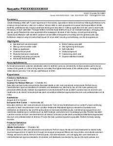 day spa resume sles esthetician wax specialist make up artist and sales
