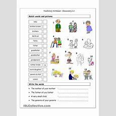 Vocabulary Matching Worksheet  Elementary 22 (family)  English Language, Esl, Efl, Learn