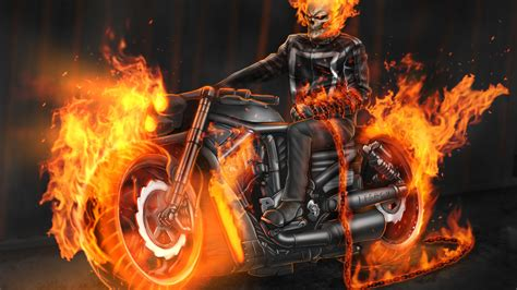 Download 1920x1080 Wallpaper Ghost Rider, Bike On Fire