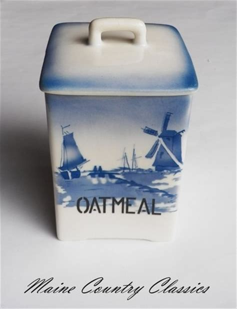 Vintage BLUE & WHITE DELFT CZECH OATMEAL CANISTER & LID