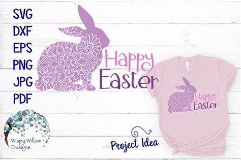 Create your diy project using your cricut explore, silhouette and more. Happy Easter Mandala Rabbit SVG By Wispy Willow Designs ...