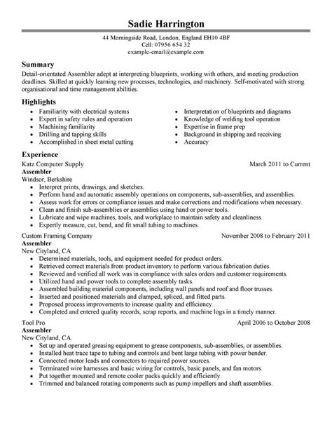 Assembly Operator Resume by Assembler Resume Exles Production Resume Sles Livecareer