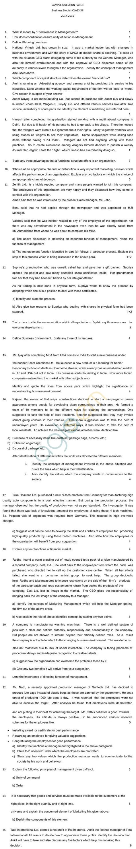 cbse sle papers 2015 2016 for class 12 business studies