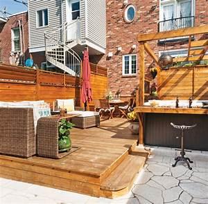 coin lounge dans l39intimite cour inspirations With modele de terrasse en bois exterieur 4 ecran dintimite exterieur patio du nord