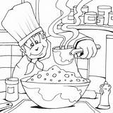 Coloring Chef Cook Colouring Pages Cooking Printable Chefs Jobs Drawing Utensils Kb sketch template