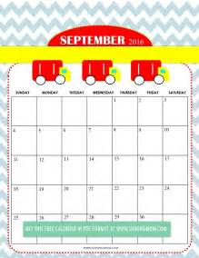 Cute September Calendar 2016 Printable