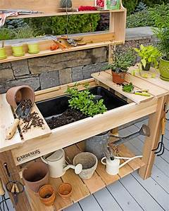 Potting Bench - Cedar Potting Table with Soil Sink and
