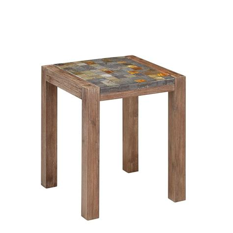 lakeland mills 23 in x 17 in cedar log patio end table