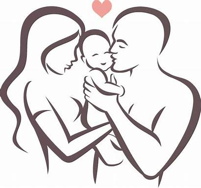 Drawing Father Mother Dad Mom Daughter Clipart