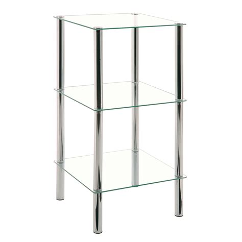 etag 232 re 3 niveaux acier chrom 233 verre tremp 233 l39xp39xh77cm