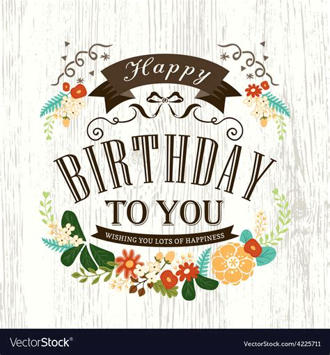 birthday card design happy birthday card design with flowers ribbon vector image