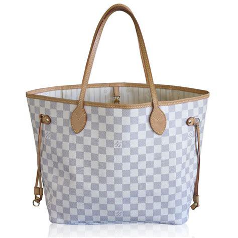 louis vuitton neverfull mm damier azur handbag tote