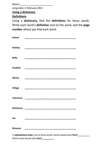 dictionary worksheet by michaelgrange teaching resources