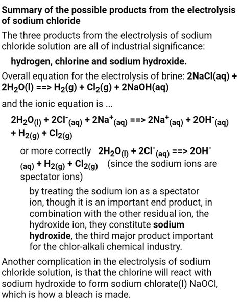 products  obtained  electrolysis  concentrated solution  nacl   presence