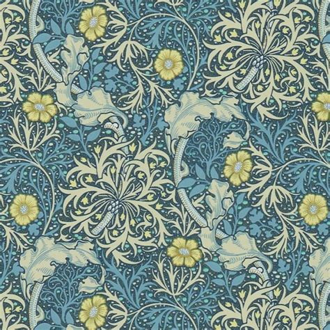 Country Home Interior Designs - william morris wallcovering morris seaweed wallpaper in woad archive iii collection