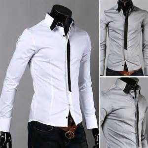 Instyles Two Colors Mens Casual False Tie Stylish Long Sleeve Shirts