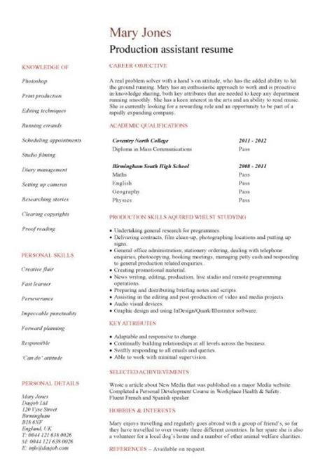 student entry level production assistant resume template