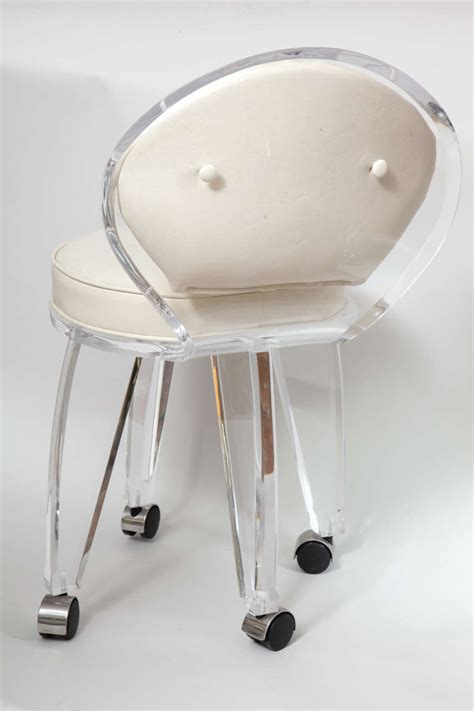 Swivel Vanity Chair With Wheels by Lucite Upholstered Rolling Swivel Vanity Chair At 1stdibs