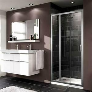porte de douche coulissante battante et fixe en 95 idees With porte de douche coulissante avec carrelage salle de bain bruxelles