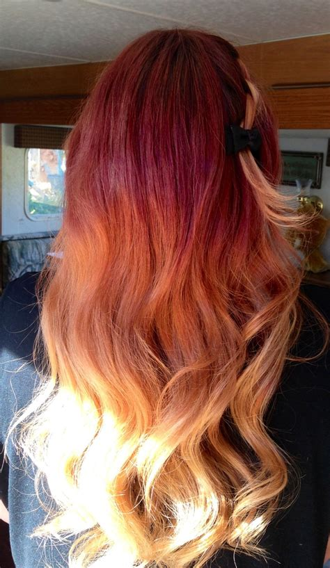 Red To Yellow Ombre Hair Hair Colors Ideas