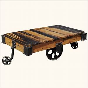 Rustic coffee table with wheels decofurnish for Rustic wood coffee table with wheels
