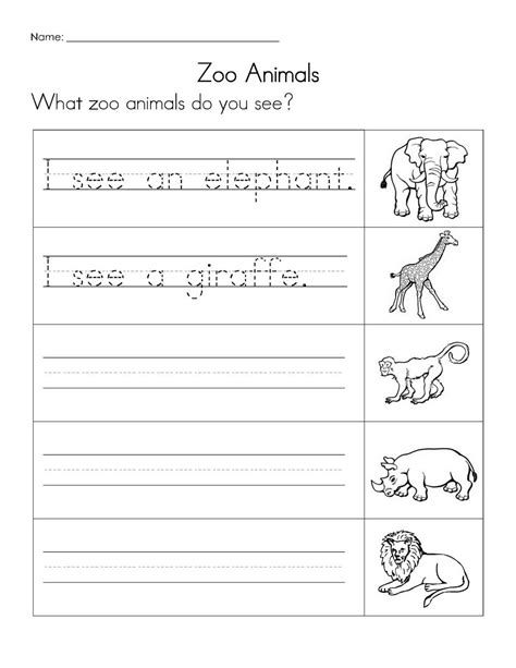 zoo animal worksheet for kindergarten zoo worksheet free