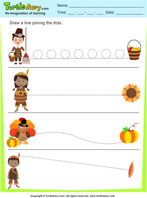 thanksgiving tracing lines worksheet turtle diary