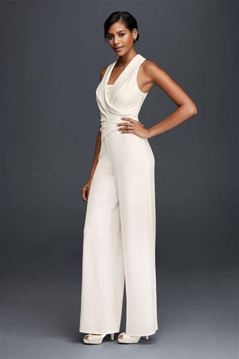 crepe wedding dress tuxedo lapel bridal jumpsuit ivory