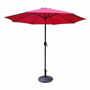 9 Ft  Tilt Patio Umbrella With Cast Iron Patio Umbrella