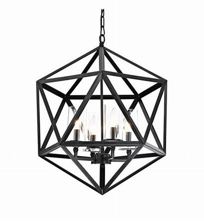 Cage Chandelier Glass Antique Shade Iron Geometric