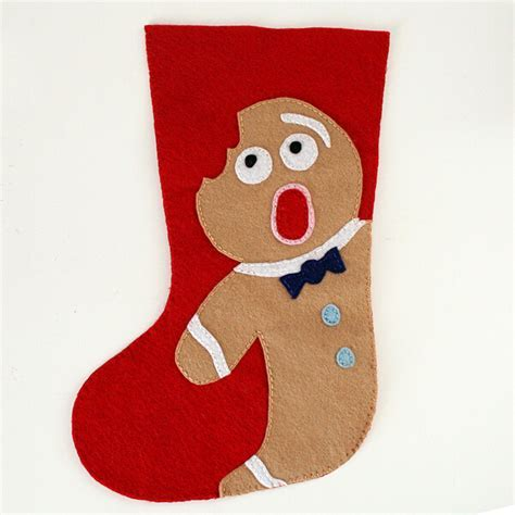 Felt Christmas Stocking Pattern Distressed Gingerbread Man