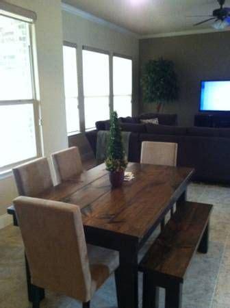 farm house tables table with bench and farm house on