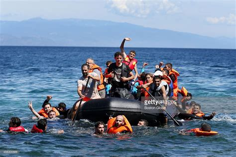 Syrian Refugees Boat by Syrian Migrants Many Of Them Refugees Push And Pull