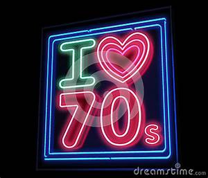 I Love Th 70s Decade Neon Sign Stock Image