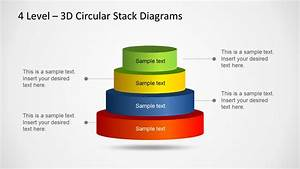3d Circular Stack Diagram For Powerpoint With 4 Levels