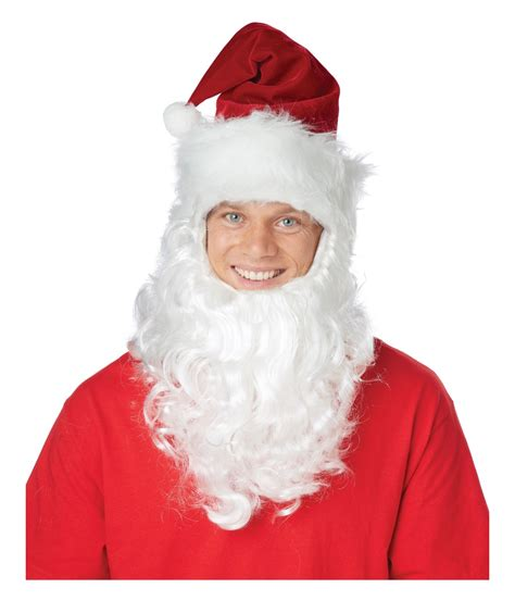 Santa Claus Getup Hat with Attached Beard Set - Hats