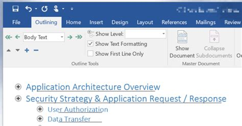 outline view  ms word  reorder headings   large