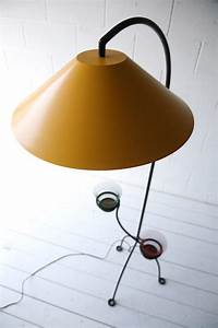 1950s floor lamp cream and chrome With floor lamp with plant stand