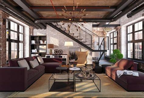 desain interior ruang tamu industrial yang atraktif dan
