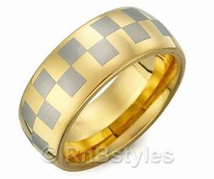 rings solid tungsten gold wedding band with silver With racing wedding rings