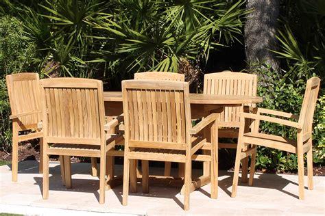 oval table pacific chairs teak set oceanic teak