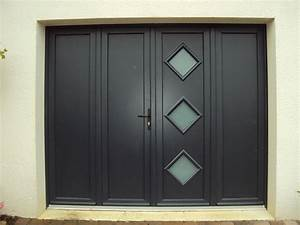 porte de garage battante et portillon integre ouverture a With porte de garage enroulable avec porte de service pvc occasion