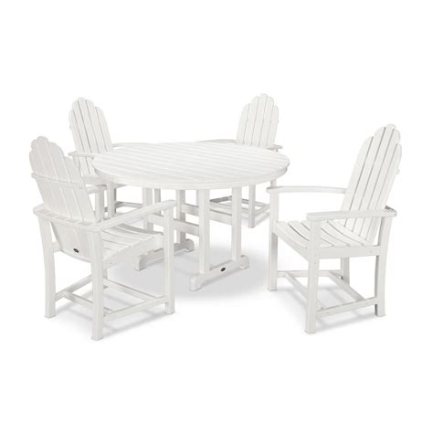 polywood classic adirondack 5 outdoor dining set in