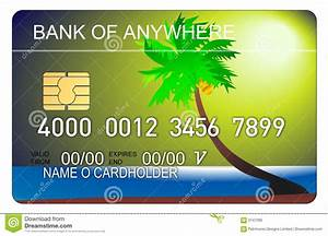 Credit Card With Beach Scene Royalty Free Stock Photo ...