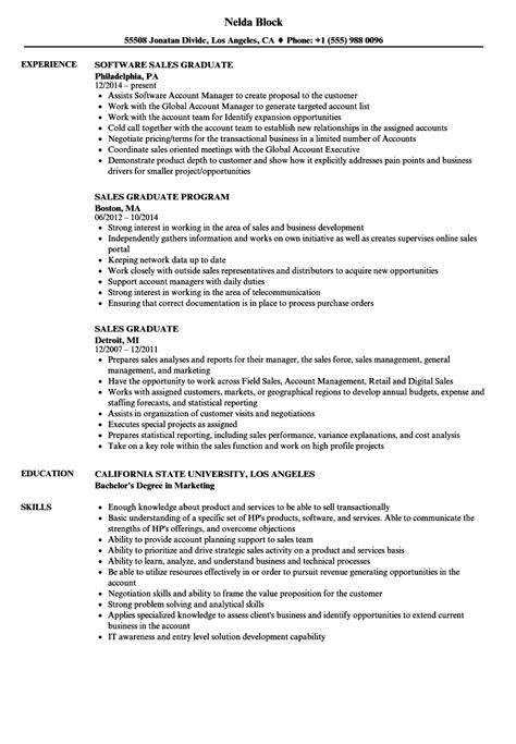 sales graduate resume sles velvet