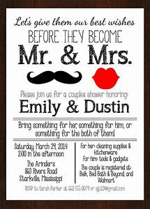 printable mr mrs couples wedding shower invitation lips With couples wedding shower
