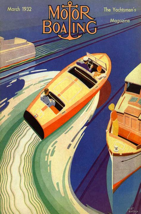 Art Deco Boat Poster by 1932 High Speed Wood Boat Chris Craft Dodge Art Deco