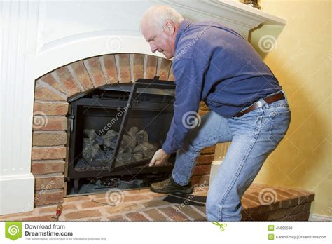 Installation Of Gas Fireplace Stock Photo Image 45695598