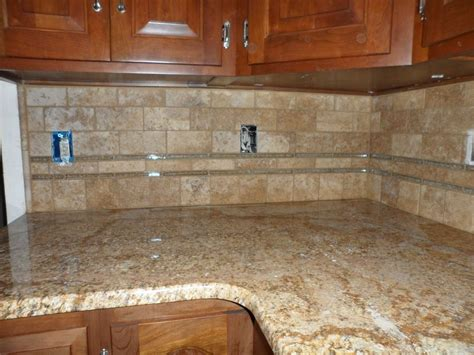 glass tile  splash grouted limestone  glass